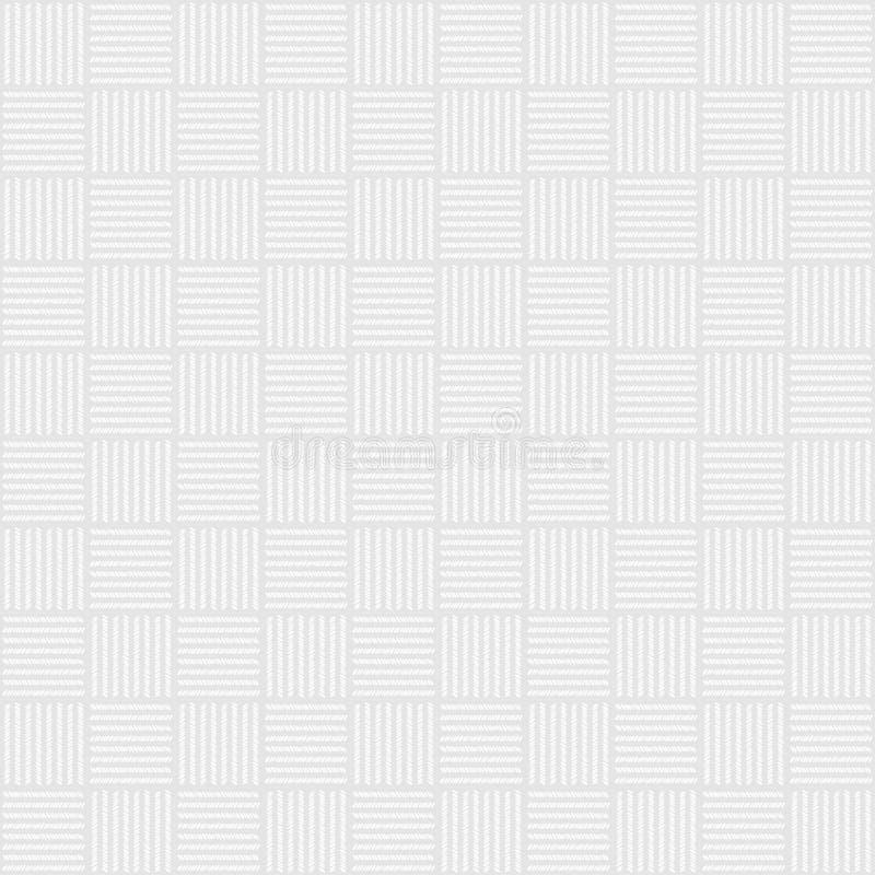 Wei?es und graues Gewebetextilmaterial-Beschaffenheitsmuster f?r realistischen Grafikdesigntapetenhintergrund Nahtlose Verzierung vektor abbildung