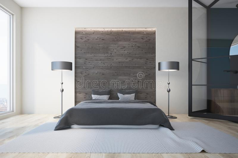 Weißes und graues Schlafzimmer, Kamin stock abbildung