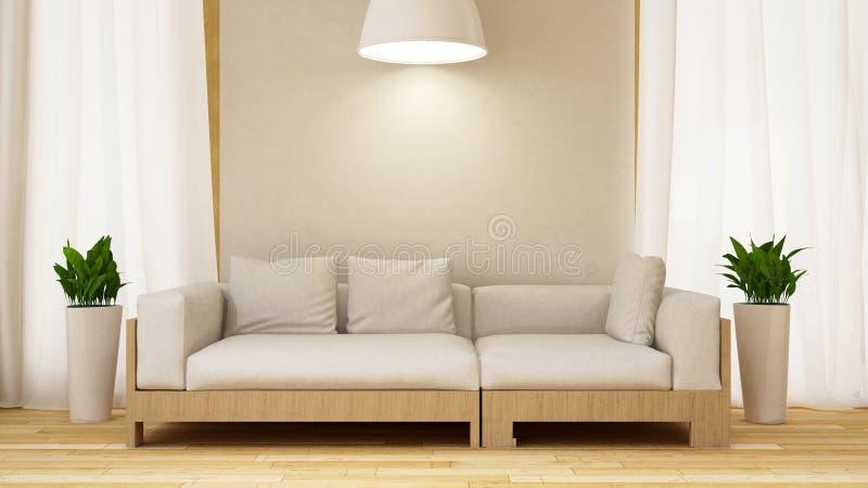 Weißes und hölzernes Sofa mit Anlage in weißer room-3D Wiedergabe lizenzfreies stockfoto