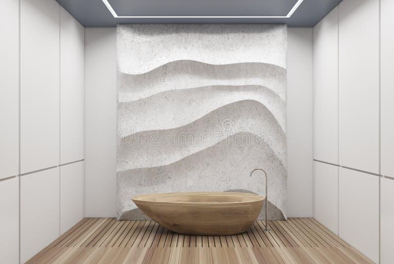 Weißes und konkretes Badezimmer, hölzerne Wanne lizenzfreie abbildung