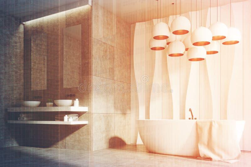 Weißes und Marmorbadezimmer, Wannen, Wanne, versehen getont mit Seiten stock abbildung