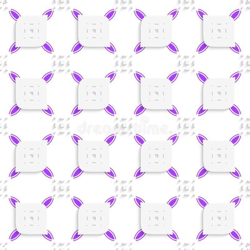 Weißes und purpurrotes kleines Rechteckherumtasten und durchlöchertes Blattse lizenzfreie abbildung