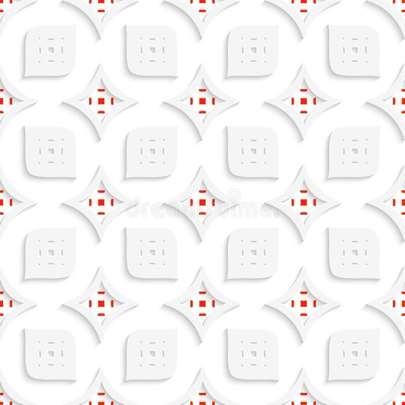 Weißes und rotes geometrisches perforiertes Blätter und Rauten seamle lizenzfreie abbildung