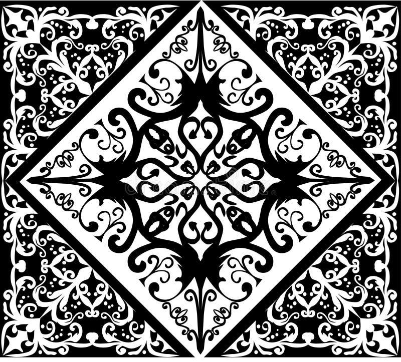 Weißes und schwarzes abstraktes quadratisches Muster stock abbildung