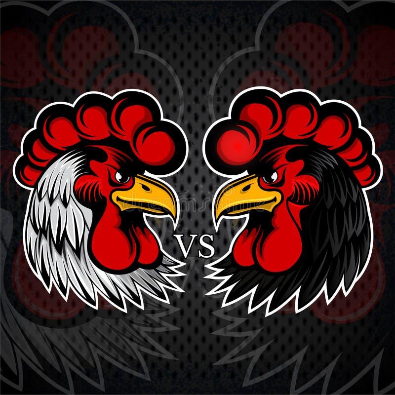 Weißes und schwarzes Hauptgegenteil Logo für irgendein Sportteam oder Hahnenkampfhahn auf Schwarzem vektor abbildung