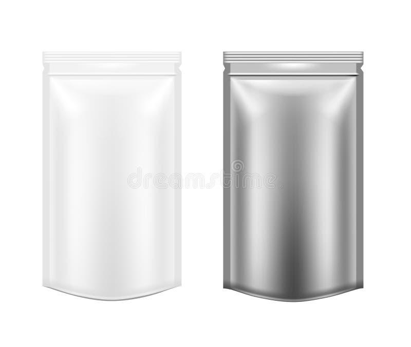 Weißes und schwarzes leeres Kunststoffgehäuse mit Reißverschluss Leere Folie vektor abbildung