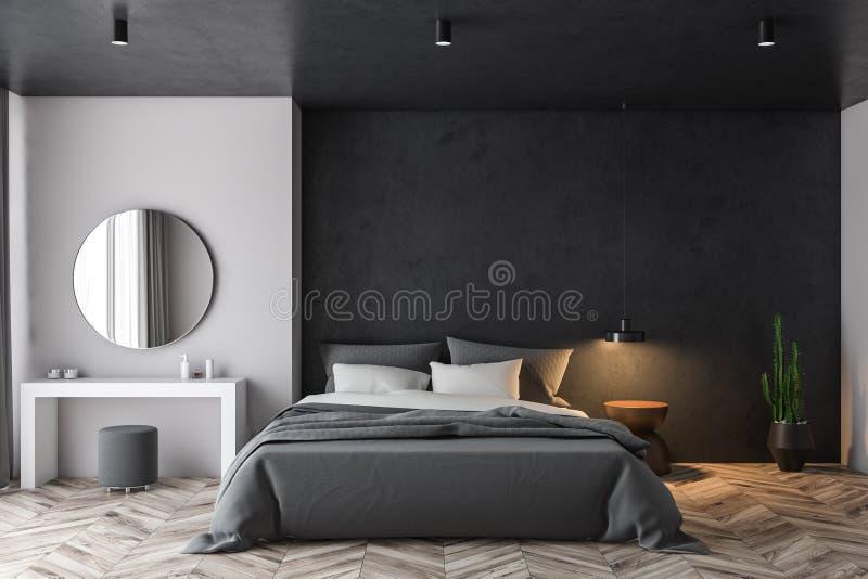 Weißes und schwarzes Schlafzimmer mit Make-uptabelle vektor abbildung
