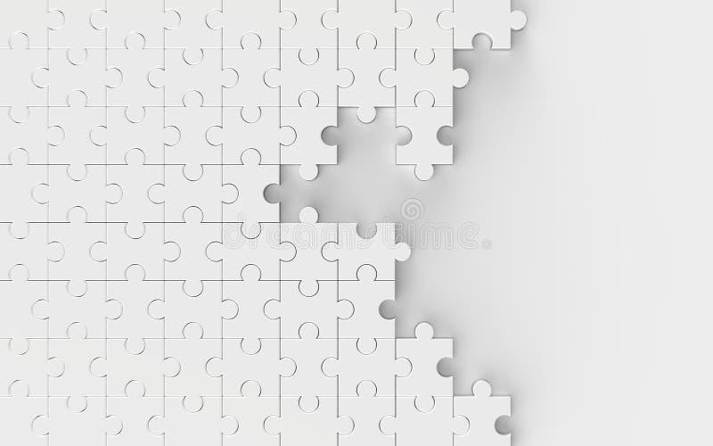Weißes ungelöstes Puzzle lokalisiert auf weißem Hintergrund 3d IL vektor abbildung