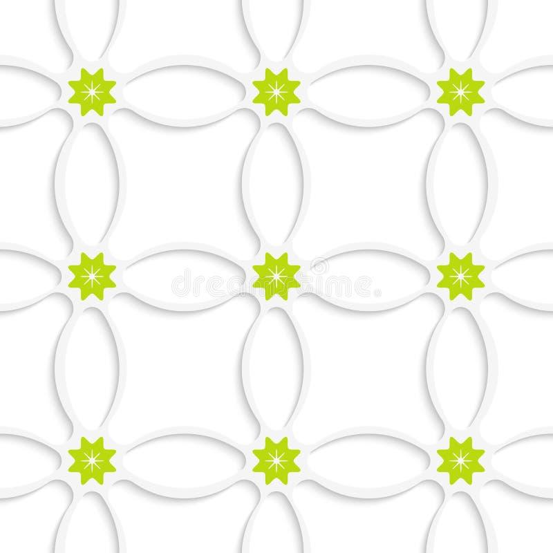 Weißes Verzierungsnetz und grüne Blumen lizenzfreie abbildung