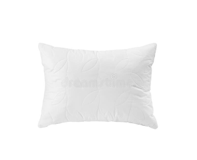 Weißes weiches Kissen mit dem Blattmuster lokalisierte lizenzfreies stockbild