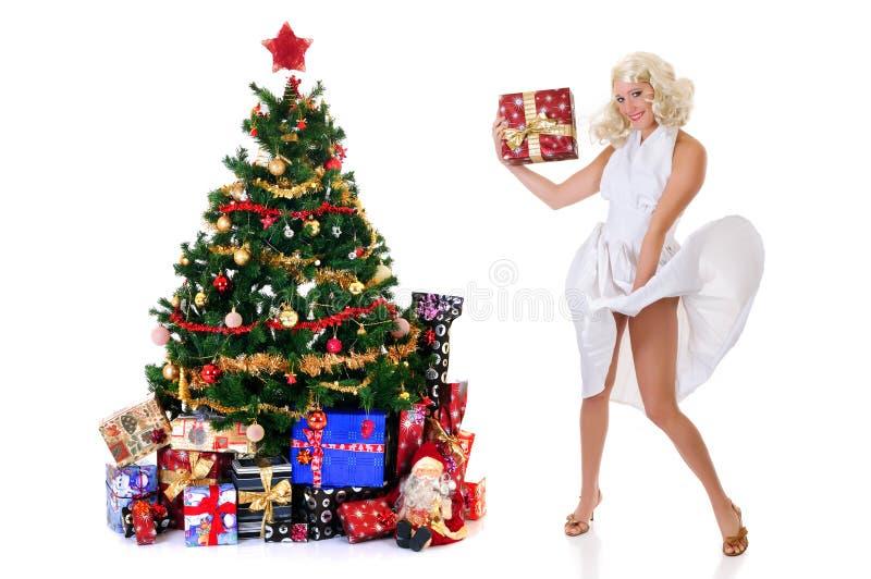 wei es weihnachten kleid der frau stockbild bild von. Black Bedroom Furniture Sets. Home Design Ideas