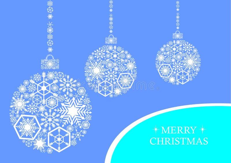 Weißes Weihnachtsbälle mit Schneeflocken auf einem blauen Hintergrund Holi vektor abbildung