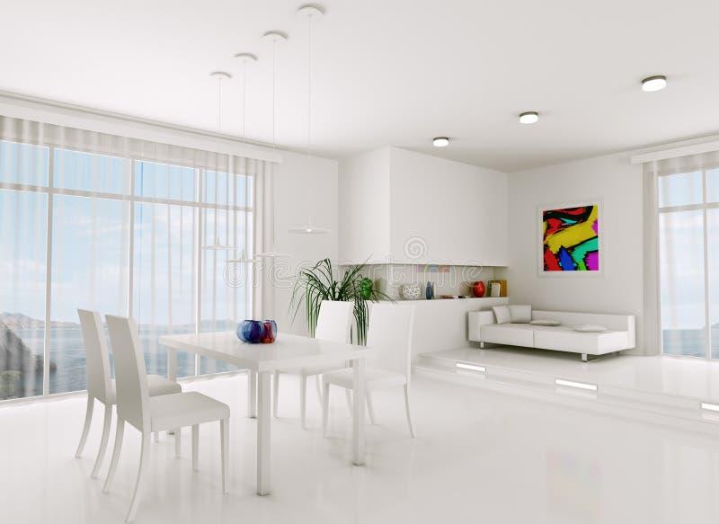 wei es wohnzimmer 3d bertragen stock abbildung illustration von m bel speisen 34707271. Black Bedroom Furniture Sets. Home Design Ideas