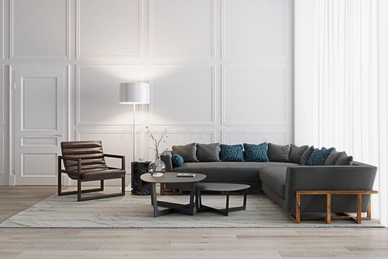 Weißes Wohnzimmer in der skandinavischen Art mit den modernen Möbeln stock abbildung