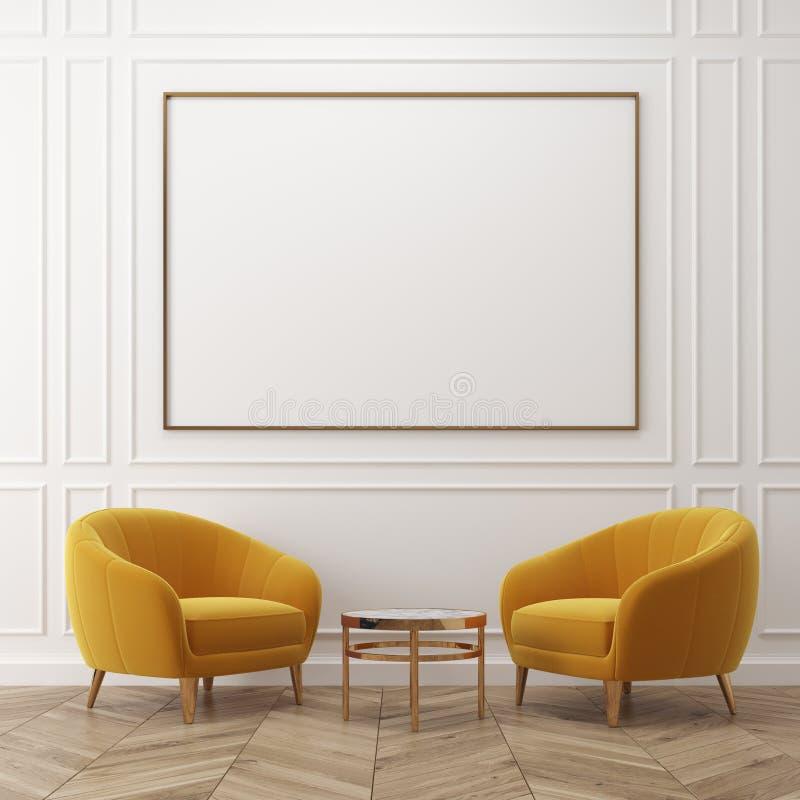 Weißes Wohnzimmer, gelbe Lehnsessel, Plakat lizenzfreie abbildung
