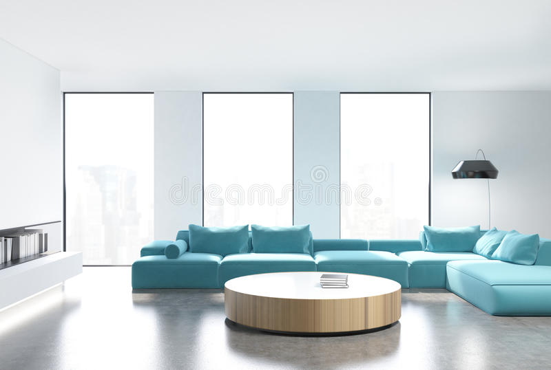 Schon Download Weißes Wohnzimmer Innen, Blaues Sofa, Vorder Stock Abbildung    Illustration Von Gelesen,