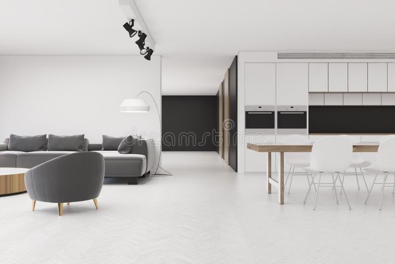 Download Weißes Wohnzimmer Mit Grauem Lehnsessel, Küche Stock Abbildung    Illustration Von Buch, Hintergrund