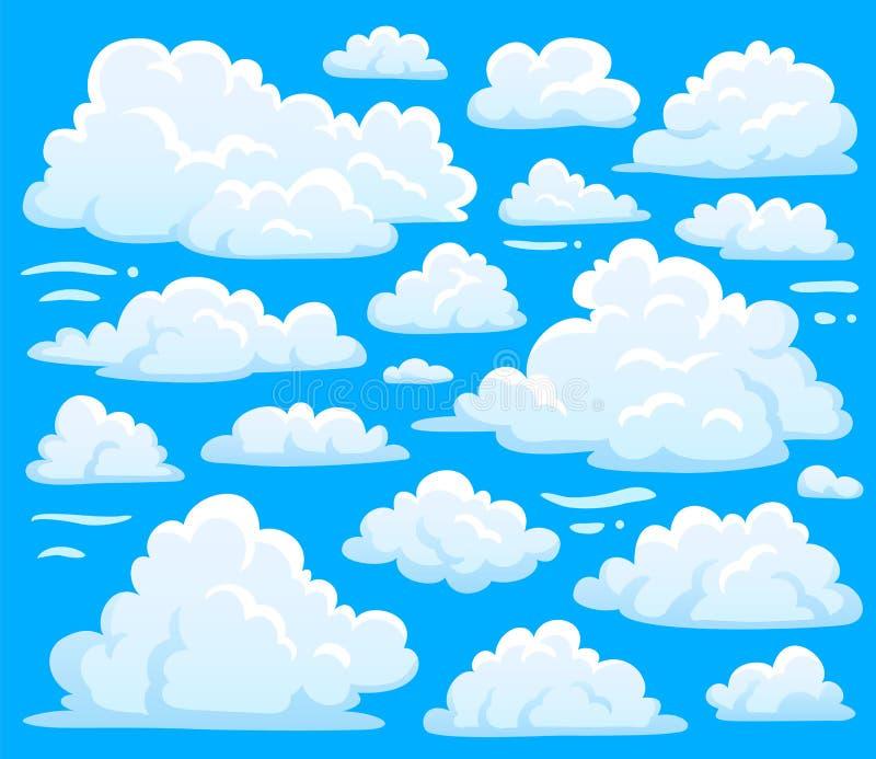 Weißes Wolkensymbol für cloudscape Hintergrund Karikatur bewölkt Symbolsatz für Klimaillustrationsvektor des bewölkten Himmels stock abbildung