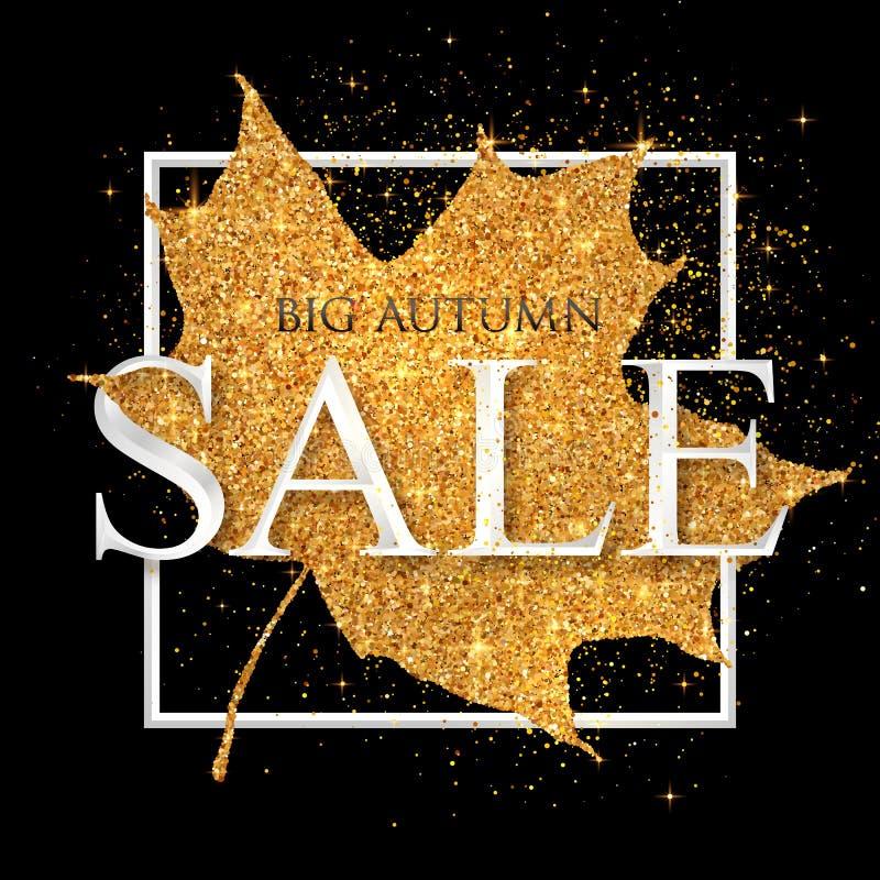 Weißes Zeichen des großen Herbst VERKAUFS-Vektors auf goldenem Staubahornblatt am schwarzen Hintergrund vektor abbildung