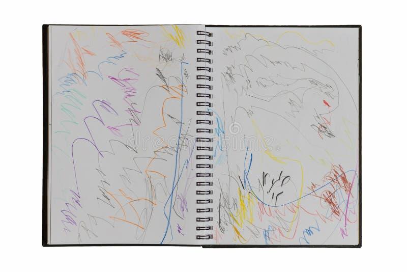 Weißes Zeichnungsbuch von zwei Jahren alte Kindern auf Weiß stockbilder