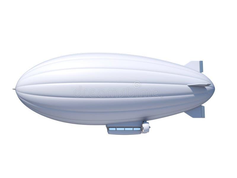 Weißes Zeppelinluftschiff mit Kopienraum, Wiedergabe 3d vektor abbildung
