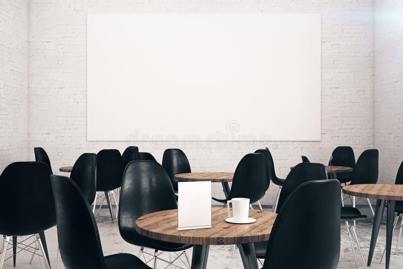 Weißes Ziegelsteincafé mit Anschlagtafel lizenzfreie abbildung