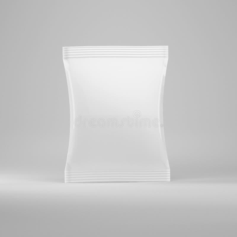Weißes zu übertragen Verpacken für Nahrung, Imbisse auf einem grauen Hintergrund, Modell, 3d lizenzfreie abbildung