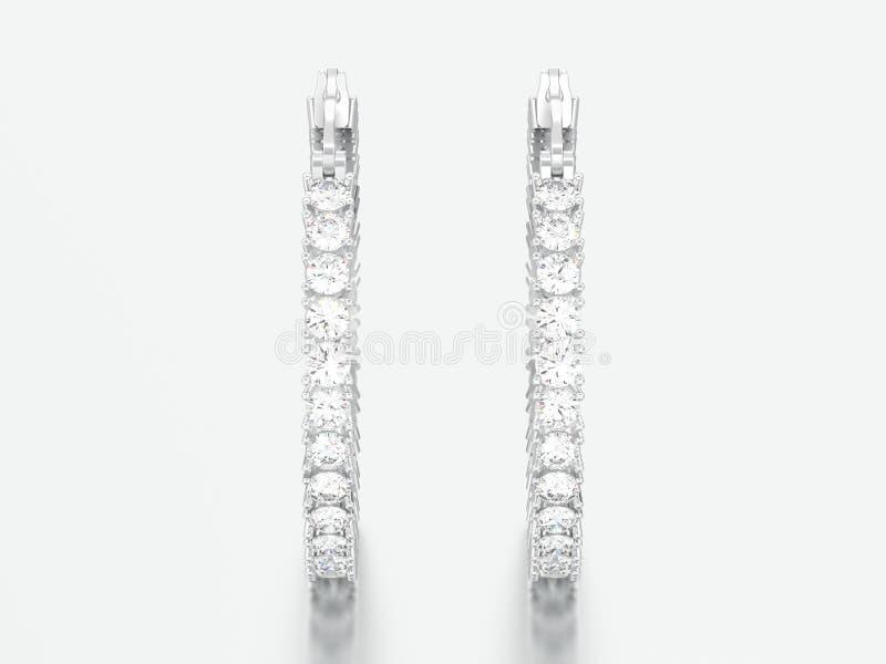 Weißgold der Illustration 3D oder silberne dekorative Diamantohrringe stockfoto