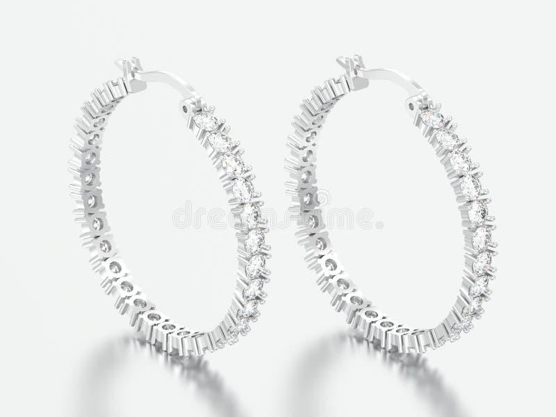 Weißgold der Illustration 3D oder silberne dekorative Diamantohrringe stockfotos