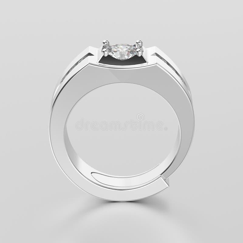 Weißgold- oder Silbermannsiegel-Diamantringesprit der Illustration 3D lizenzfreie abbildung