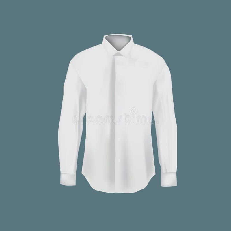 Weißhemd der Modellmänner s Männer ` s Geschäftshemd mit langen Ärmeln stock abbildung