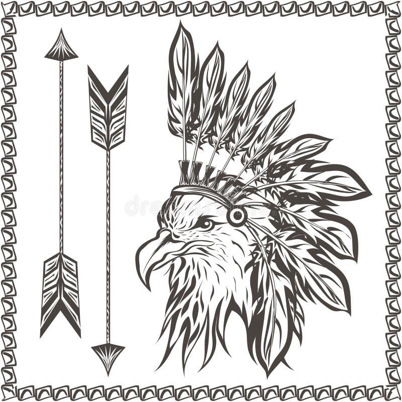 Weißkopfseeadler im ethnischen indischen Kopfschmuck stock abbildung
