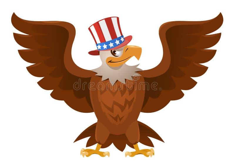 Weißkopfseeadler im patriotischen Hut mit offener Verbreitung beflügelt vektor abbildung