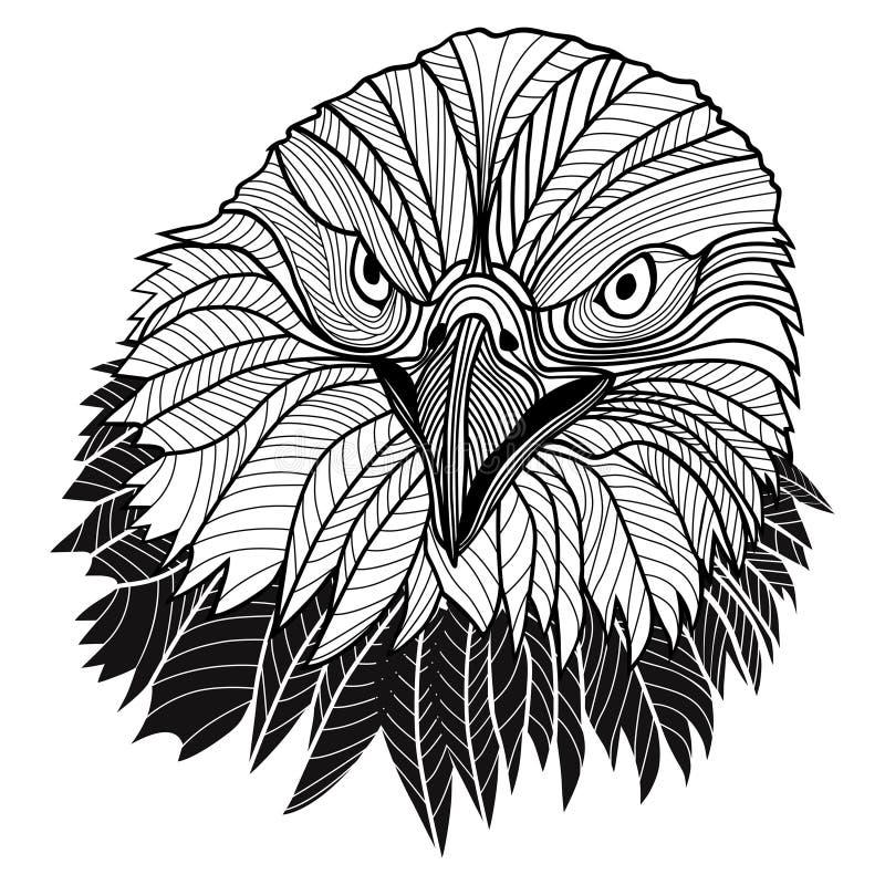 Weißkopfseeadlerkopf als USA-Symbol für Maskottchen- oder Emblemdesign, solch ein Logo. lizenzfreie abbildung