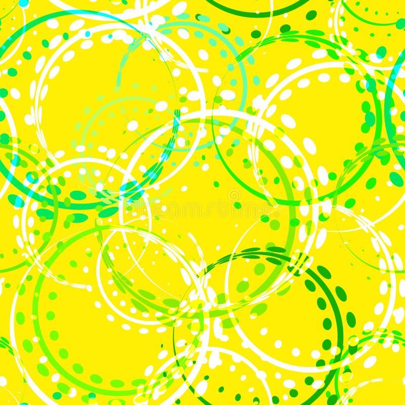 Weißliche Locken und Kreise von grünen Schatten auf einem Zitronenhintergrund stock abbildung
