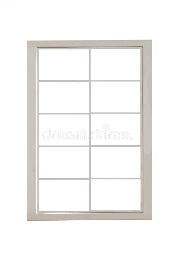 Weißmetallfensterrahmen lokalisiert lizenzfreie stockbilder