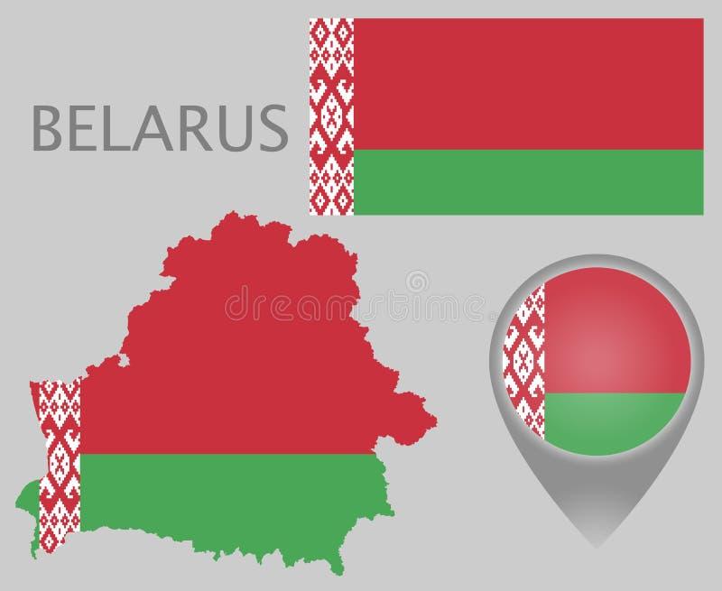 Weißrussland-Flagge, Karte und Kartenzeiger vektor abbildung