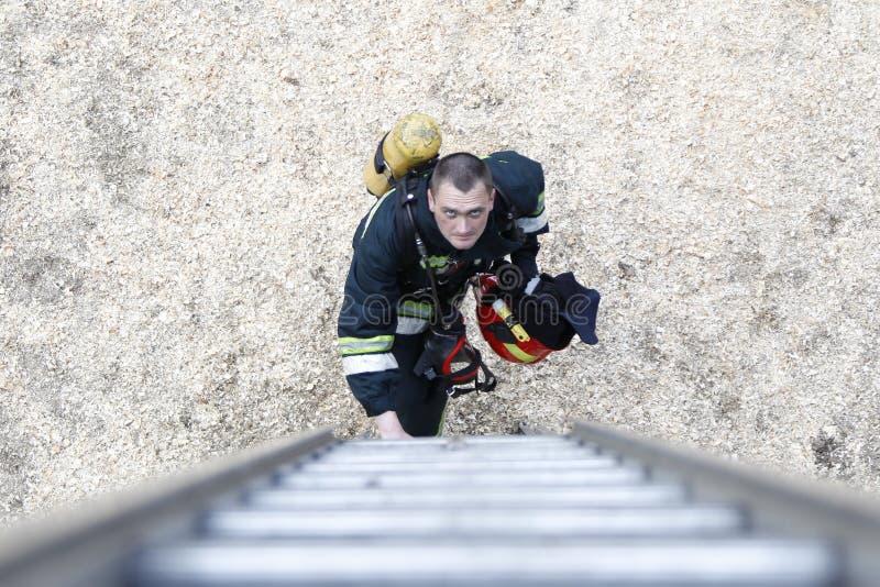 Weißrussland, Gomel, 04/06/2017, Waldbrand auslöschend belarus Feuerwehrmann klettert oben die Treppe Arbeitsfeuerwehrmann Lösche lizenzfreie stockfotografie