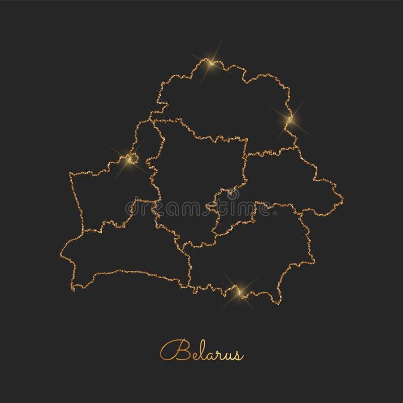 Weißrussland-Regionskarte: goldener Funkelnentwurf mit stock abbildung