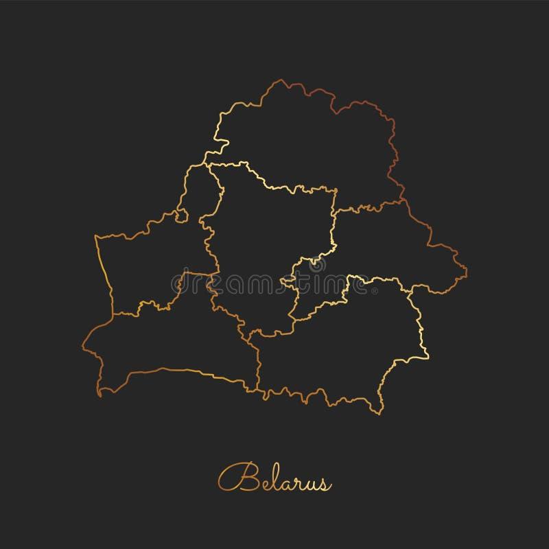 Weißrussland-Regionskarte: goldener Steigungsentwurf an lizenzfreie abbildung