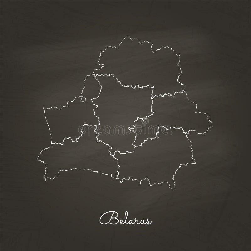 Weißrussland-Regionskarte: Hand gezeichnet mit weißer Kreide lizenzfreie abbildung