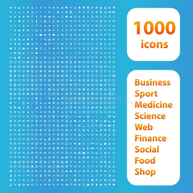 Weißsatz mit 1000 Ikonen lizenzfreie abbildung