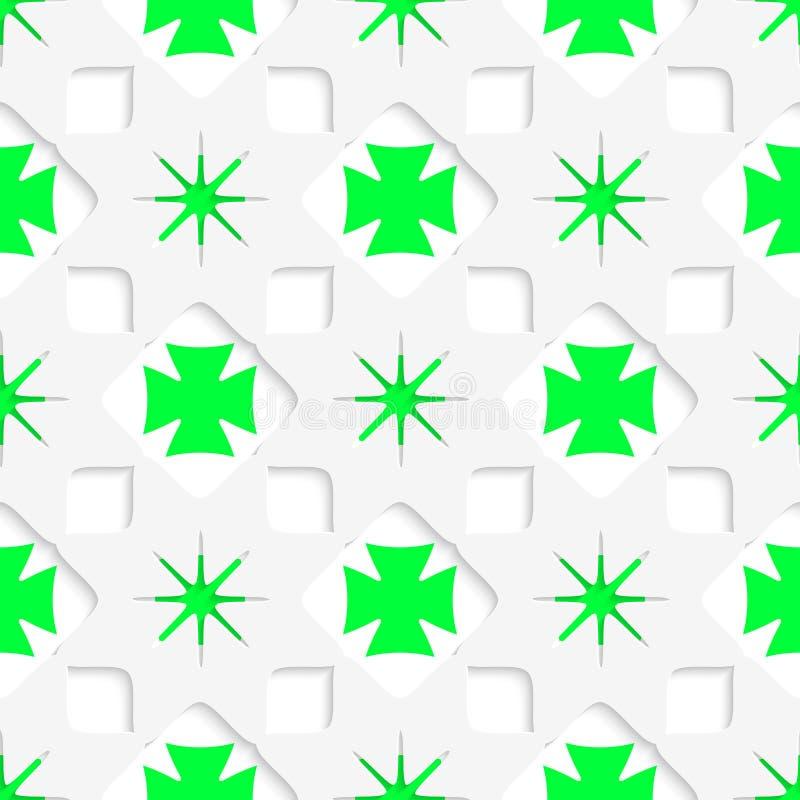 Weißsterne mit den grünen inneren Teilen nahtlos lizenzfreie abbildung