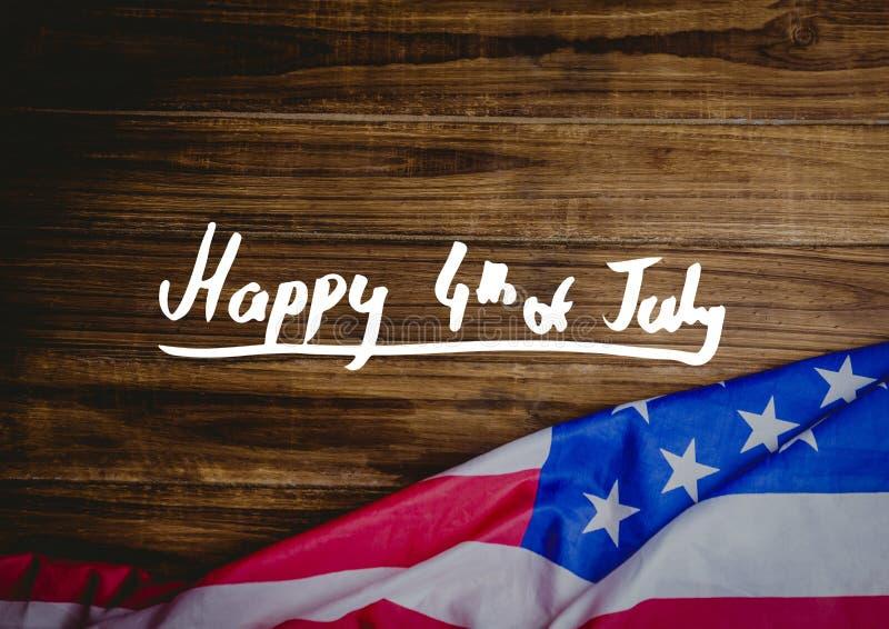 Weißviertel von Juli-Grafik gegen hölzerne Tabelle und amerikanische Flagge stockfotografie