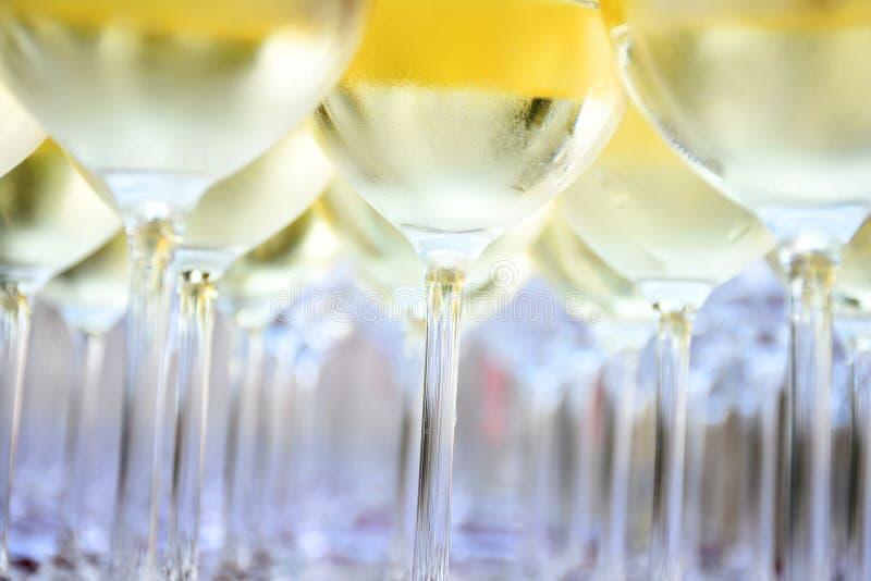 Weißwein in den Weingläsern stockbild