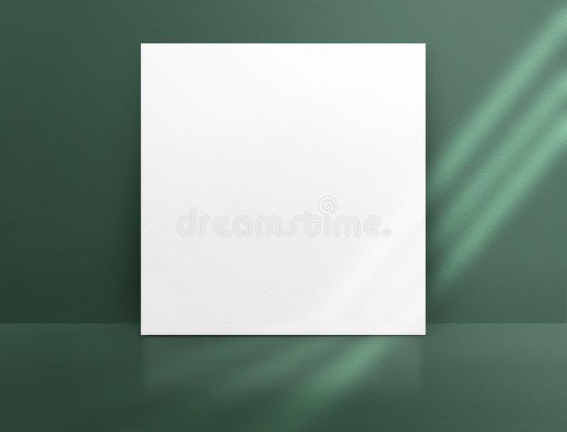 Weißbuchplakat des freien Raumes, das an der grüne Farbbetonmauer und -boden mit Fenstersonnenlicht im Perspektivenraum, Geschäft stock abbildung