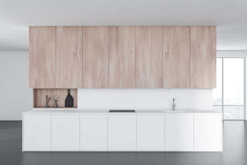 Weiße Küche mit weißen Countertops vektor abbildung