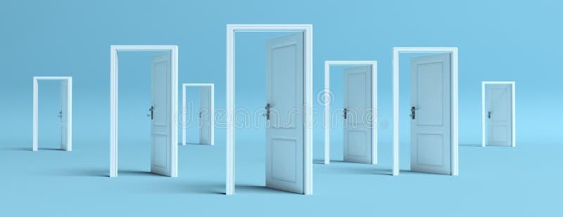Weiße Türen öffneten sich auf blauem Hintergrund, Fahne Abbildung 3D vektor abbildung