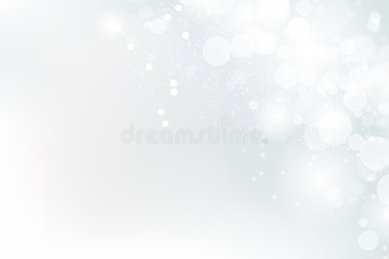 Weiße Zusammenfassung, feiern Funkeln schimmern Bokeh-Hintergrund und schneien, Saisonfeiertagsvektorillustration stock abbildung