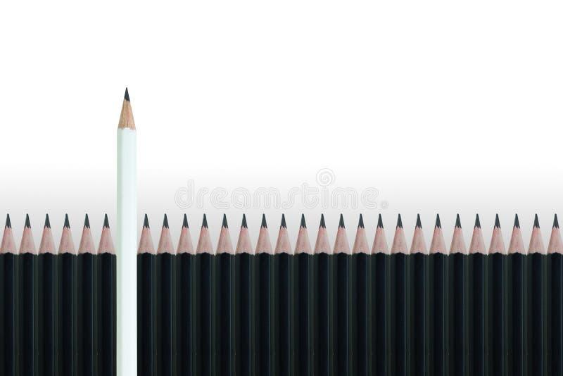 Weißer Bleistift, der heraus von der Reihe vieler schwarzen Bleistifte auf grauem Hintergrund steht stockfoto
